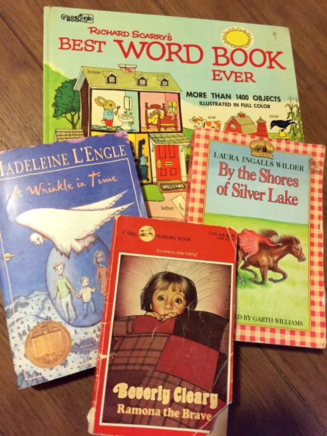 Some of the great purchases my kids have made at the Friends of the Library book sales.