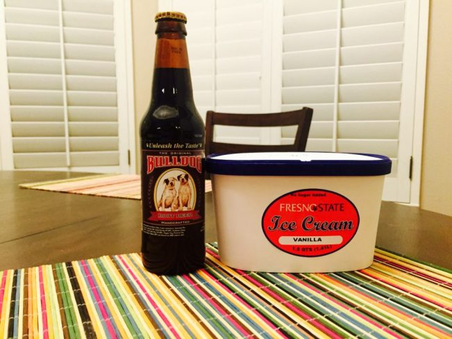 Bulldog Root Beer and Fresno State vanilla ice cream - the ingredients for a FresYes Float.