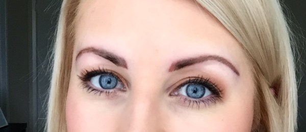 Photo taken 3 days into healing. Just a little bit of redness remained and the brows were still darker than they'd ultimately heal to be.