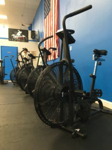 Row of Air Assault Bikes