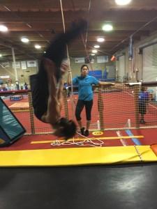 back flipping at Gymnastics Beat