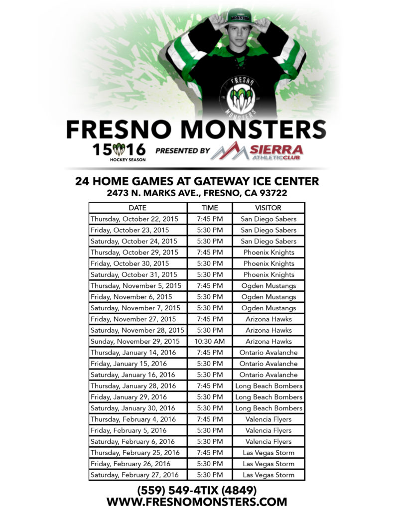 Fresno Monsters' Schedule