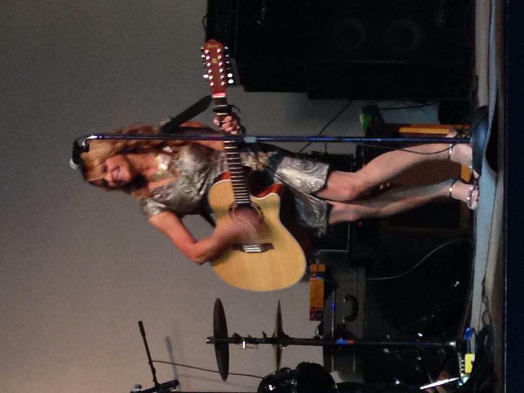 Nashville singer Gina Jones croons an original song at the Bakersfield CMAs