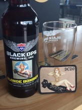A coincidental resemblance between the Blonde Bomber label and actual military patch