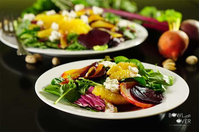 Roasted Beet Orange and Pistachio Salad