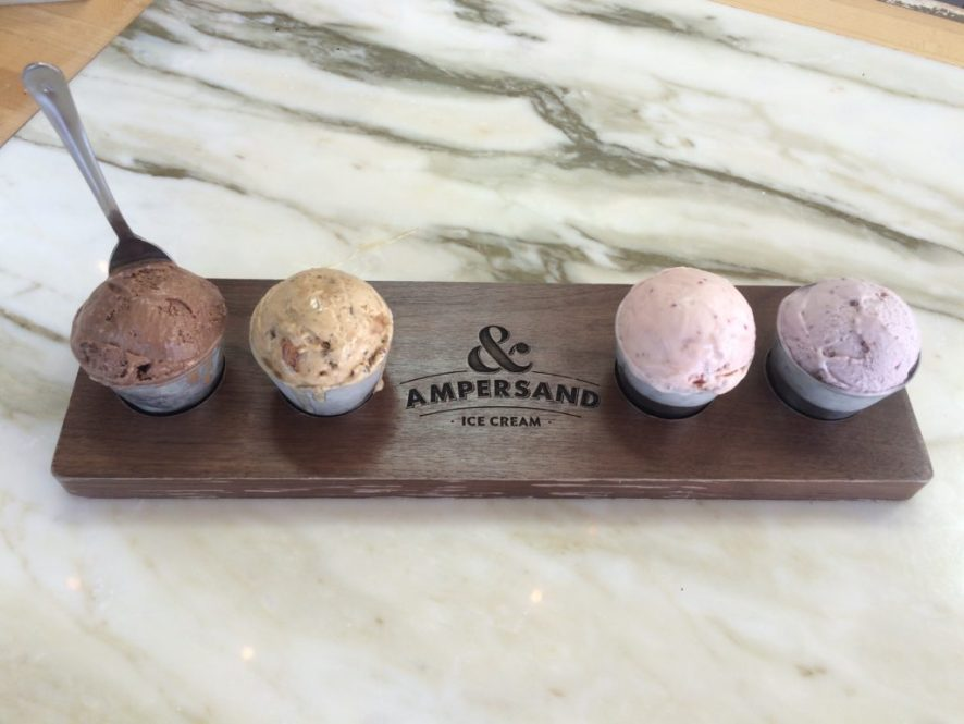 For $8, you can sample a Flight of Four flavors. From left, Dark Chocolate, Central Perk, Strawberry Balsamic and Berry Basil.