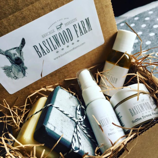 A gift basket from Basilwood Farms