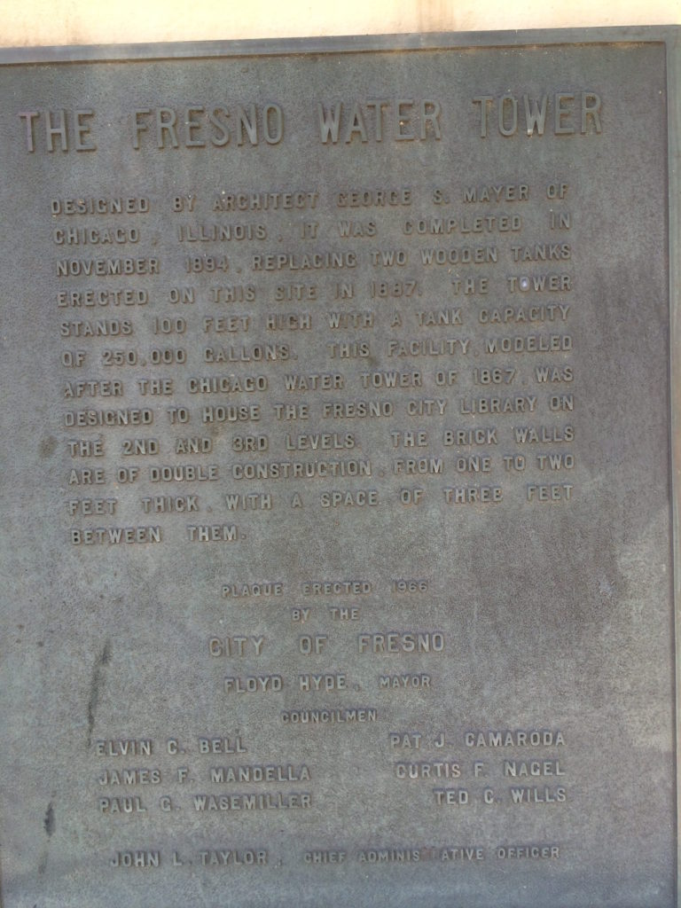 Plaque at Fresno Water tower