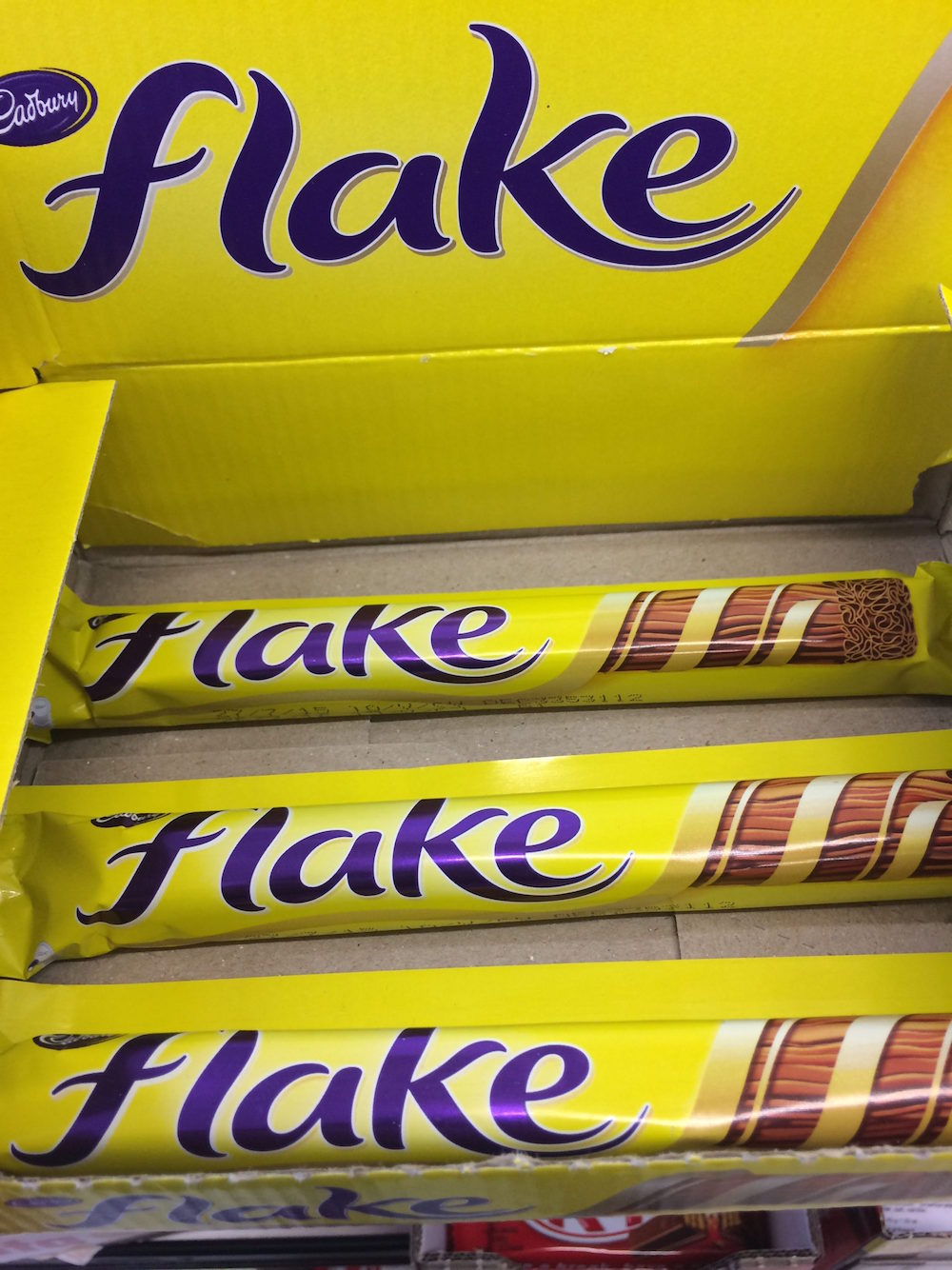 It's a candy bar, made with flaky chocolate