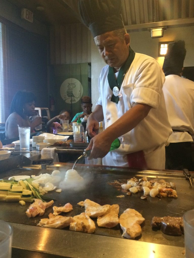 My favorite chef. Here he is preparing for the onion volcano.
