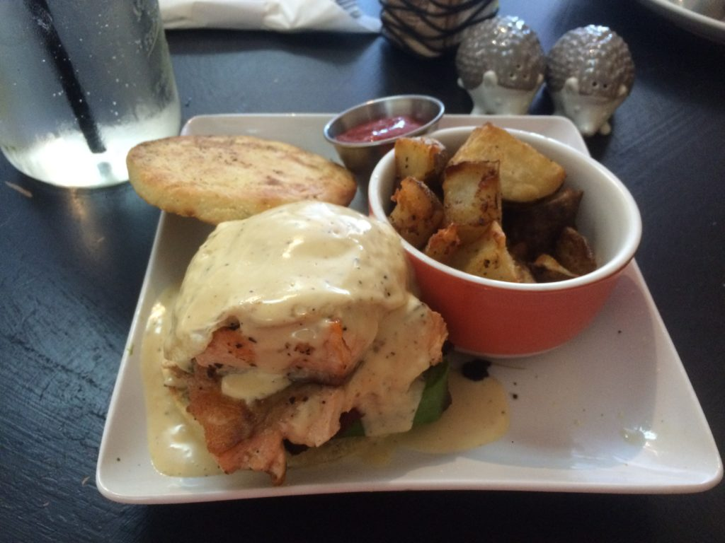 The Joker, which has salmon, bacon, avocado, poached egg and hollandaise sauce on an English muffin