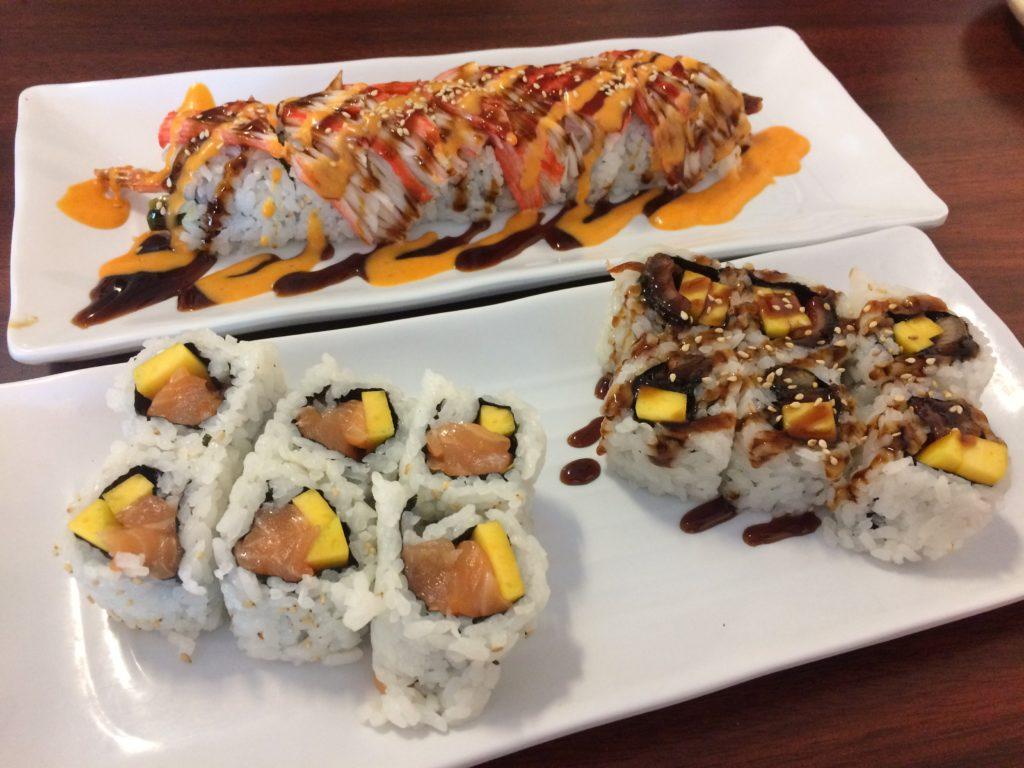 traditional sashimi and maki rolls