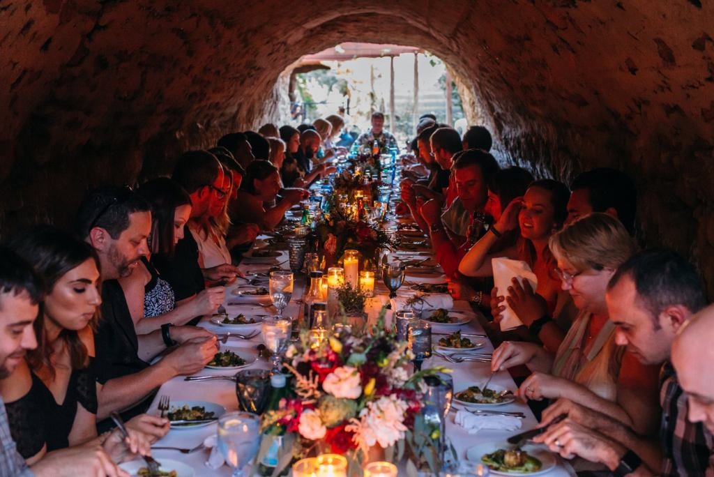 A Supper Series dinner that was held literally underground at Forestierre Gardens. Photo Courtesy of B.R. Sorber Photography.