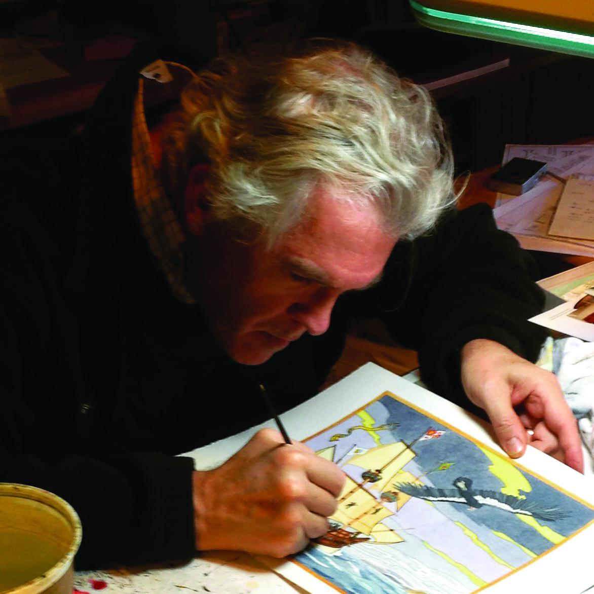 Doug Hansen working on an illustration, image courtesy of Nat Hansen
