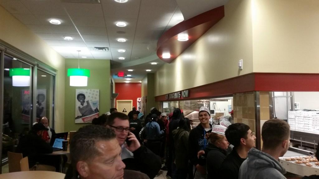 Inside the opening of Krispy Kreme doughnuts
