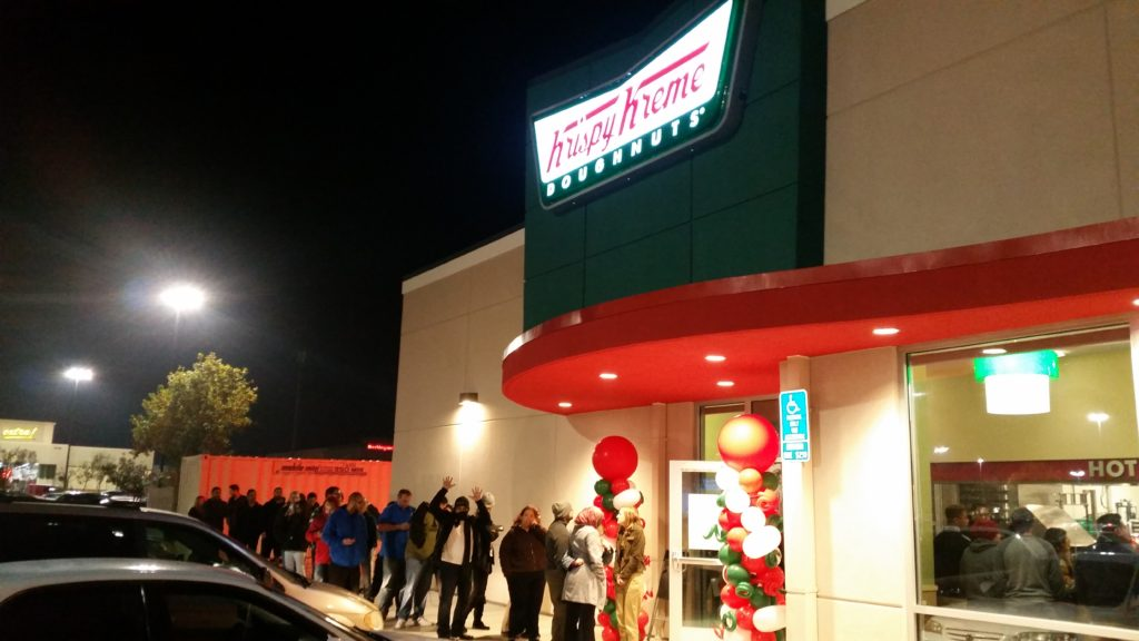 The first 99 people in line received a free dozen Krispy Kreme doughnuts each month for a year!