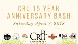 Join CRŪ Winery in celebrating 15 amazing years this Saturday!