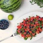 Wassermelonen Heidelbeer Salat