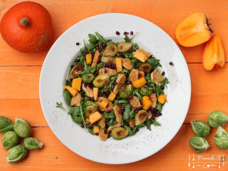 Kürbis Gnocchi mit gebratenen Kohlsprossen auf Rucola vegan - Freude am Kochen