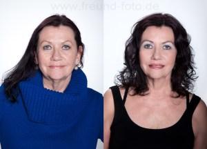 Frau mit Fotoshooting Make Up Vorher Nachher