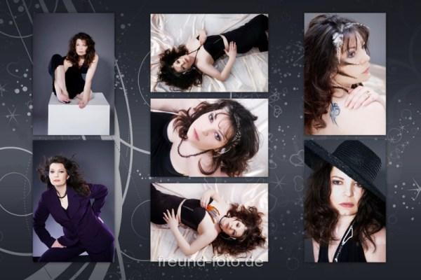 Frau mit tollem Make Up beim Fotoshooting auf Bild Collage