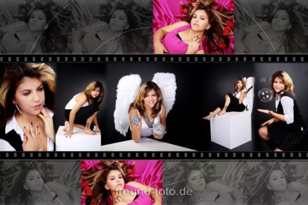 Frau beim Shooting auf Bild Collage