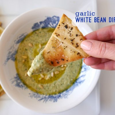 Garlic White Bean Dip & Pita Chips