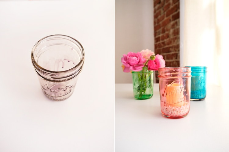 Diy colored mason jars with glue
