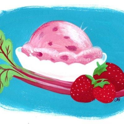 Strawberry Rhubarb Ice Cream