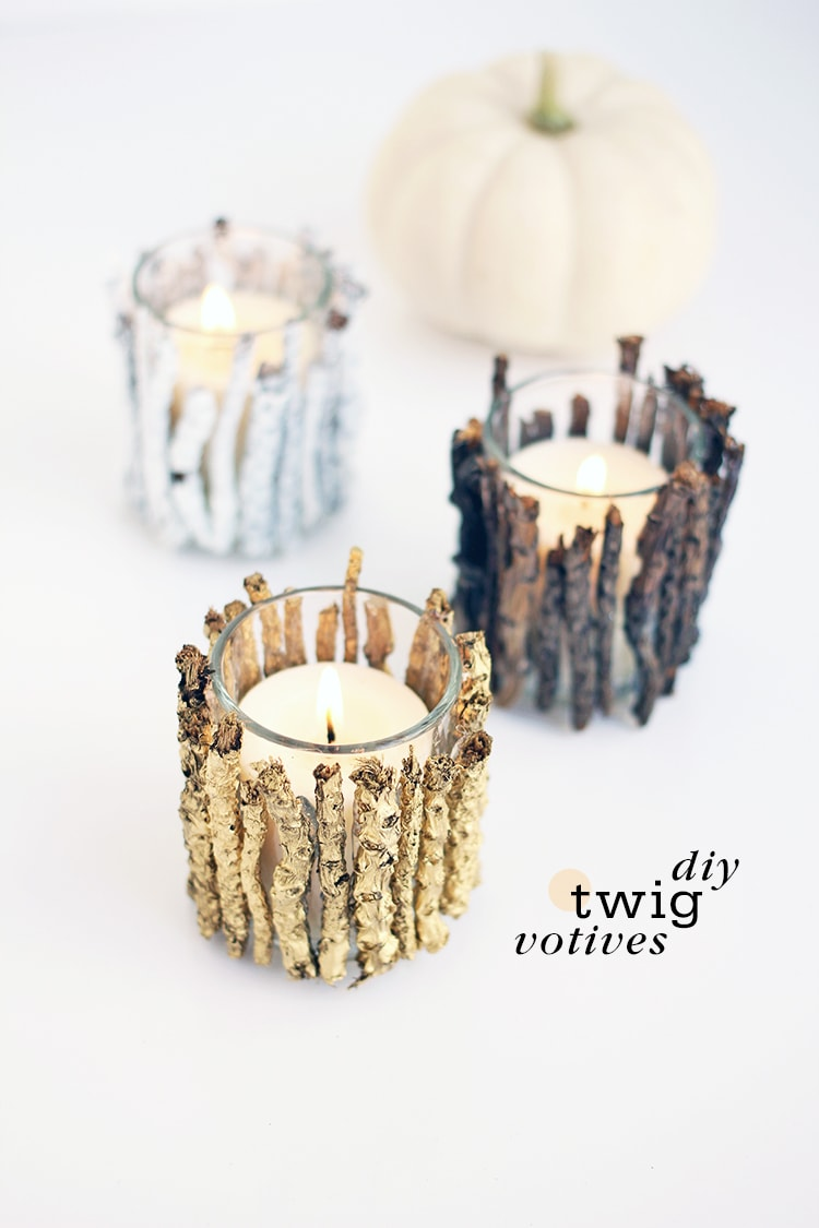 Diy twig votive candle holders for Diy wooden pillar candle holders