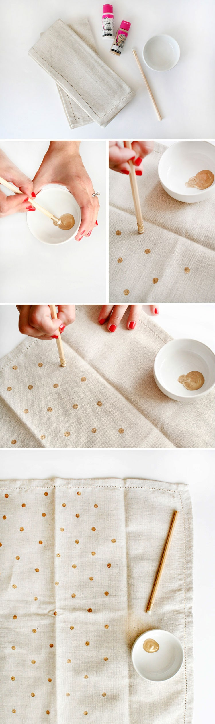 Polka dot napkin tutorial