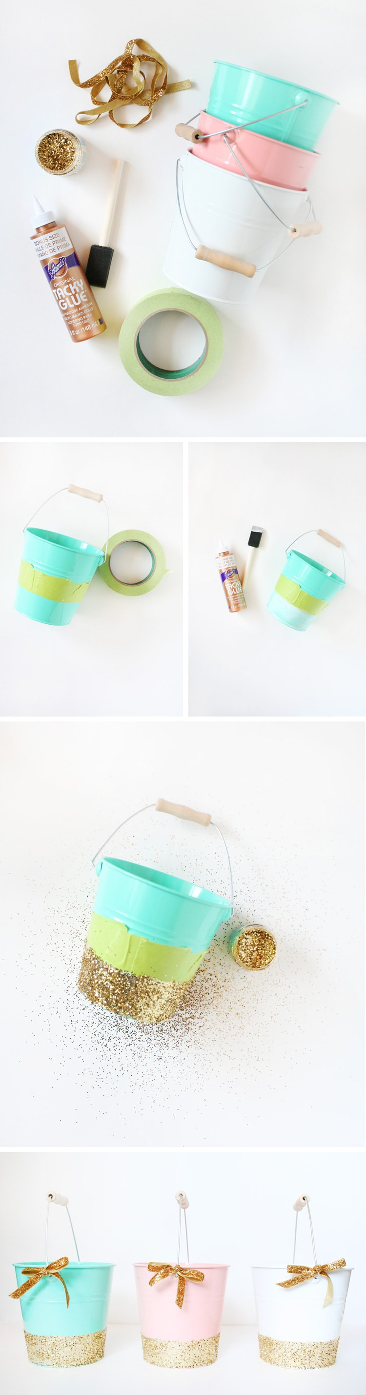 DIY Glittered Easter Pails