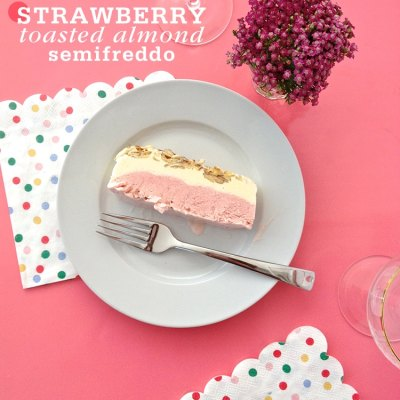 Strawberry-Toasted Almond Semifreddo