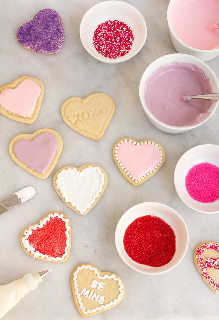 decorating sugar cookies with royal icing. conversation heart sugar cookies decorating with royal icing