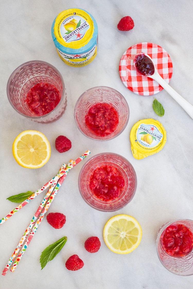 Raspberry Lemonade Spritzers