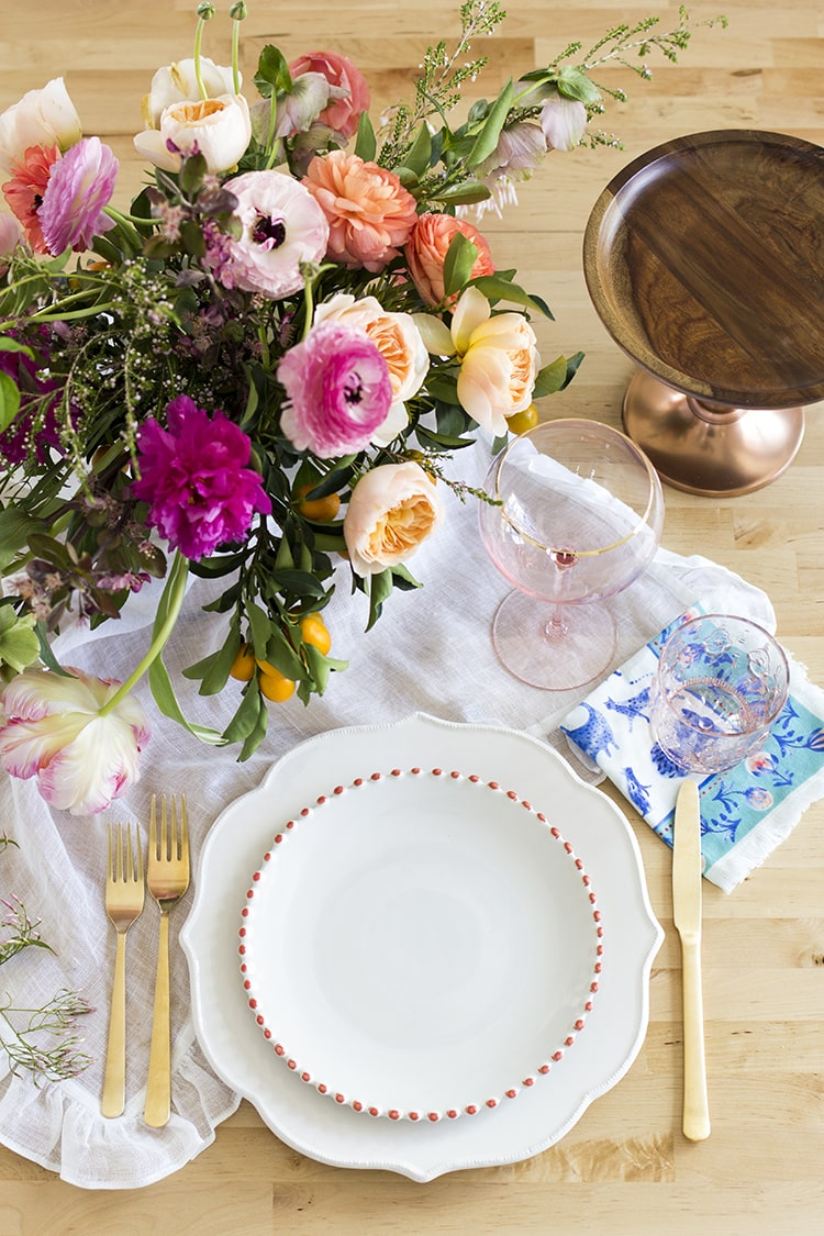 Setting A Spring Table With Anthropologie White Plates