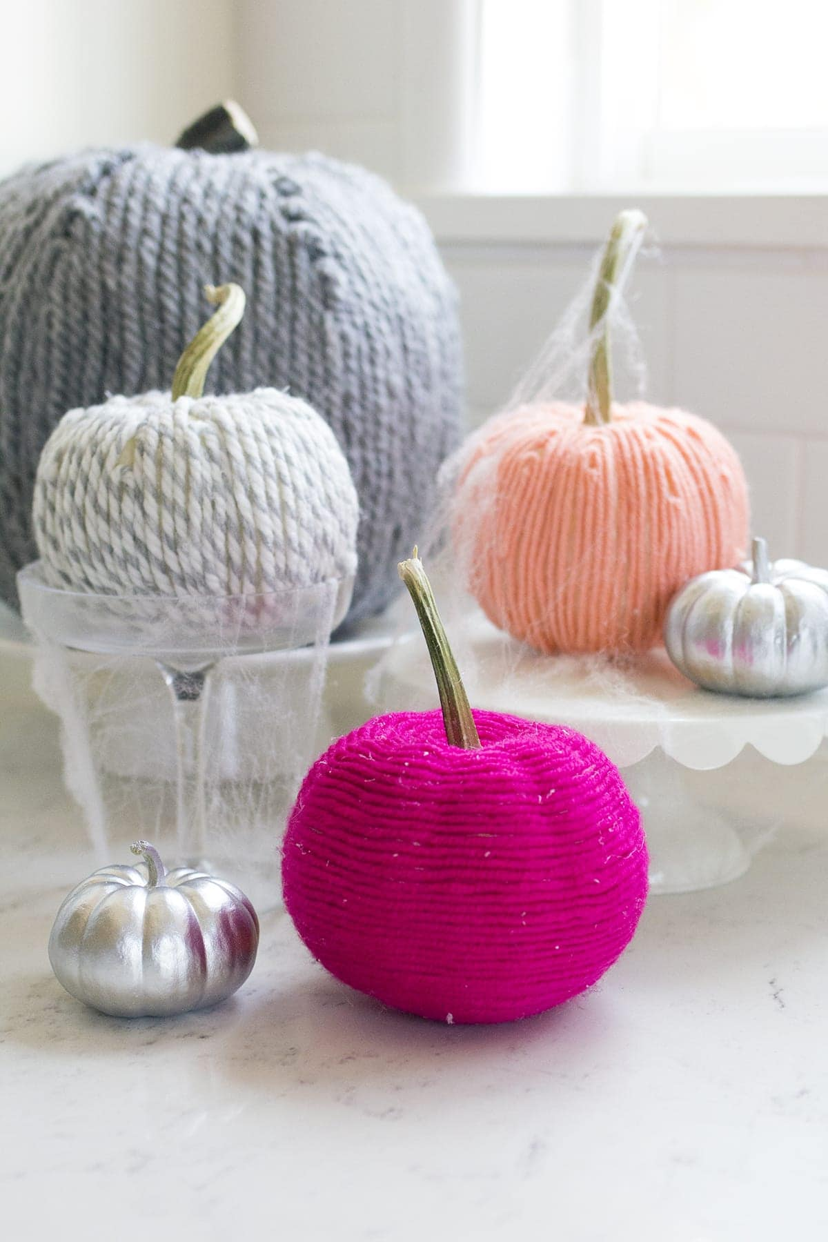 Yarn Covered Pumpkins How-to for Halloween