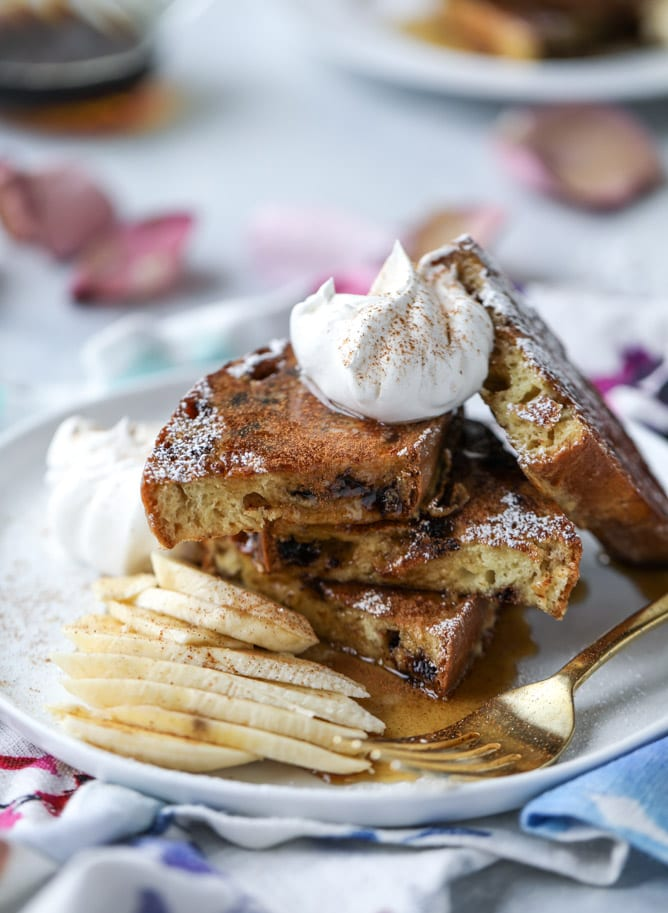 Irish Soda Bread French Toast with Whiskey Syrup and Whipped Cream