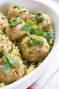 Turkey Zucchini Meatballs with Mint Basil Pesto