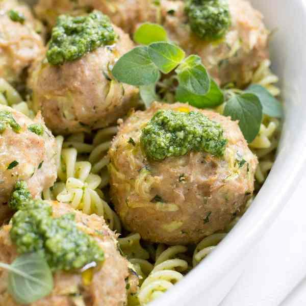 Turkey Zucchini Meatballs with Mint Basil Pesto