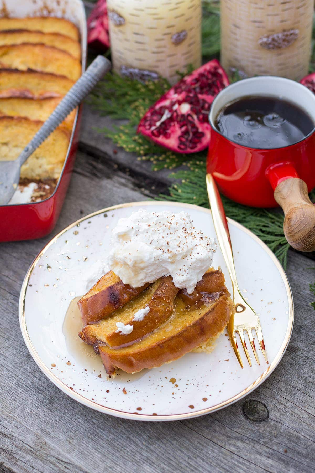 Baked Eggnog French Toast with Whiskey Whipped Cream