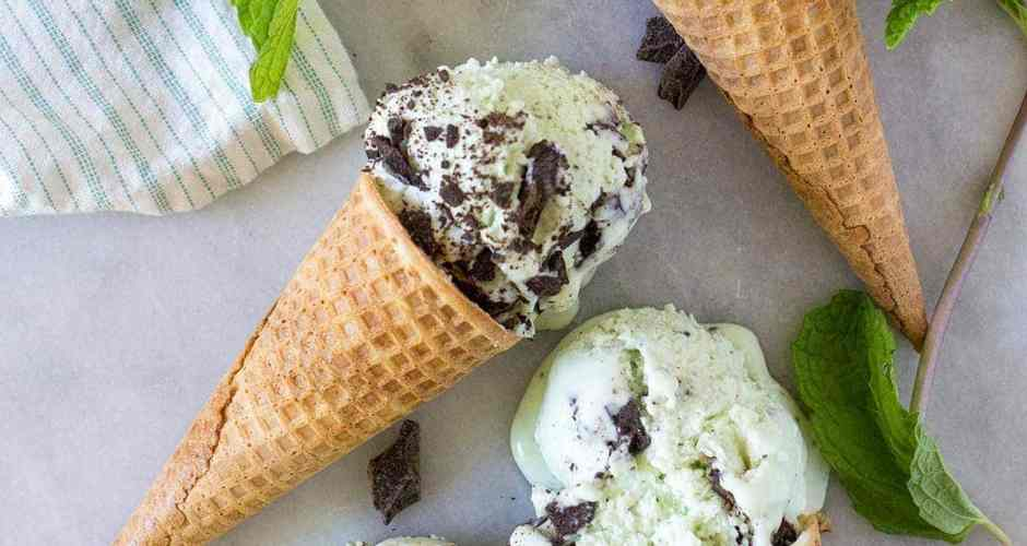 No-Churn Real Mint Chocolate Chip Ice Cream