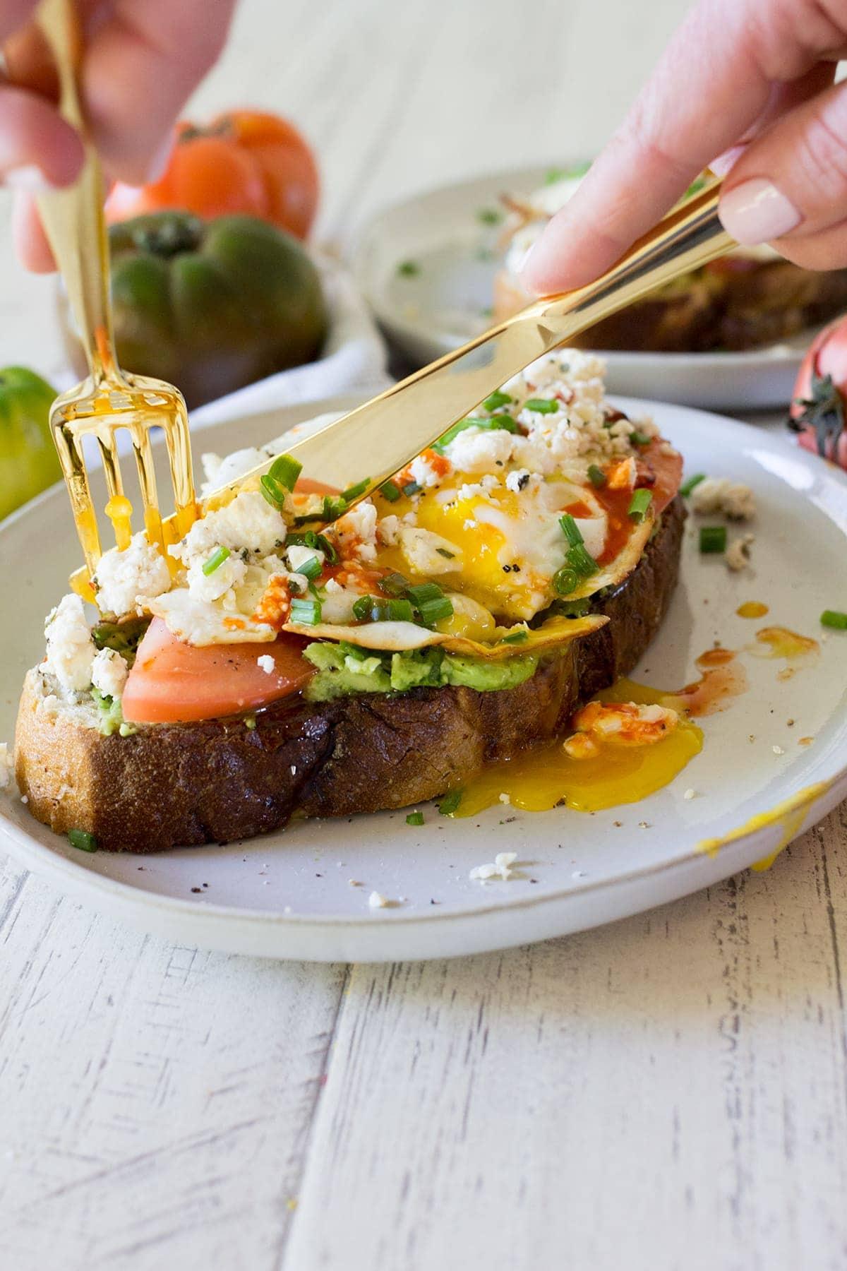 Egg and Tomato Feta Toast