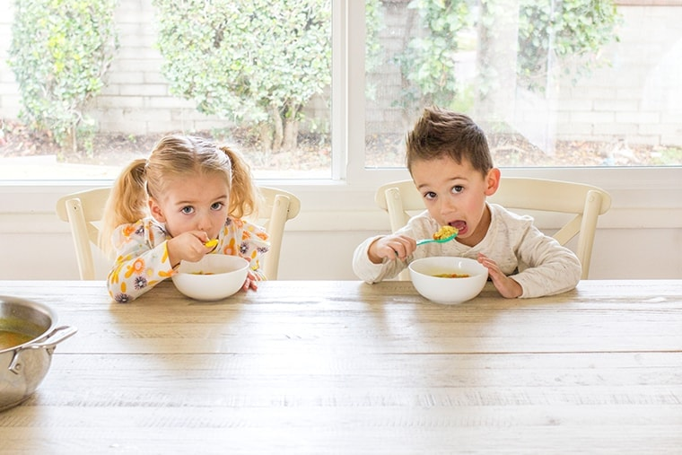 Homemade Chicken and Stars Soup is the perfect toddler meal for lunch or dinner. It's fast to make thanks to store bought rotisserie chicken and delicious to eat.  #kidfriendly #chickenandstars #soup #chickennoodle #chickensoup #rotisserie #dinner #toddlermeal #starsoup #starpasta #pasta