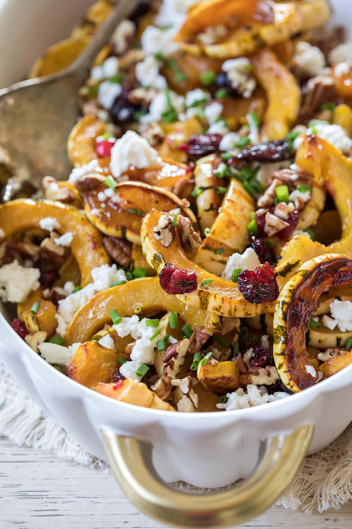 Roasted Delicata Squash with Cranberries and Feta makes a perfect Thanksgiving side dish #thanksgiving #delicata #squash #healthy