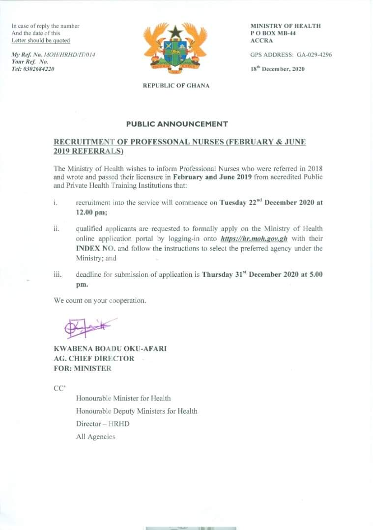 Applications opened for the recruitment of 2018 Professional Nurses with referrals 1
