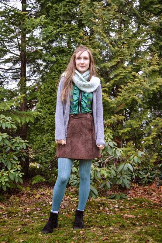 Autumnal greens with brown suede