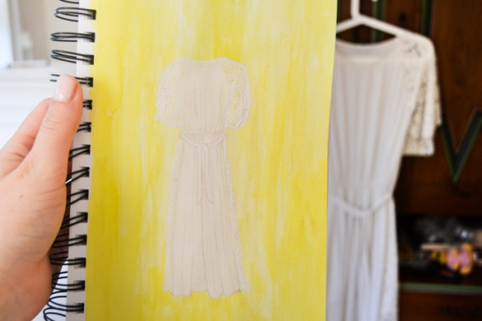 Gouache painting of white lace dress by Frida Jonsson