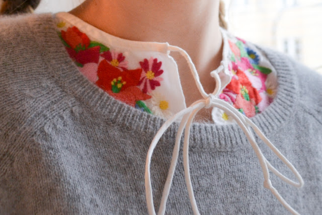 Fridanoodle embroidered tie shirt and fluffy angora sweater