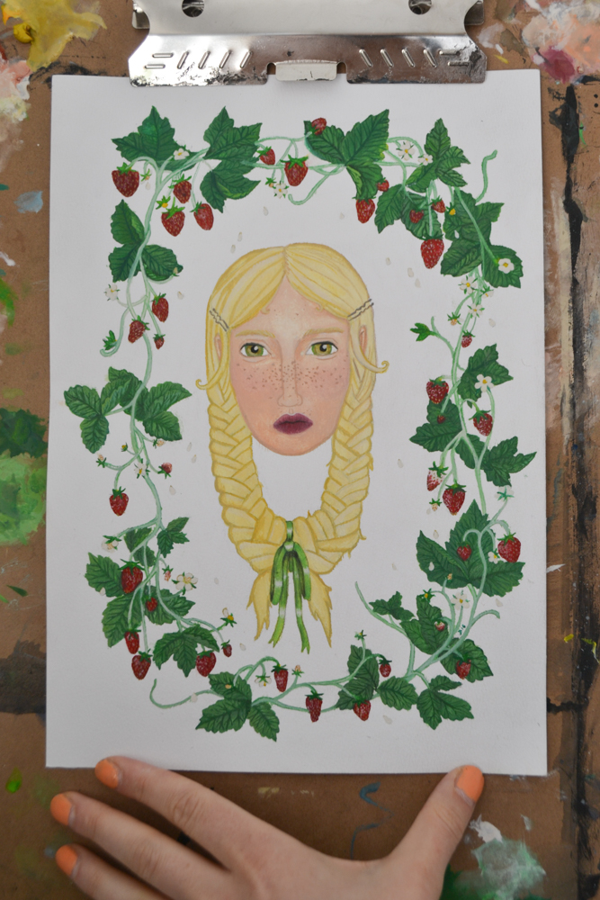 painting of strawberry plants wreath blonde girl with ribbon in hair